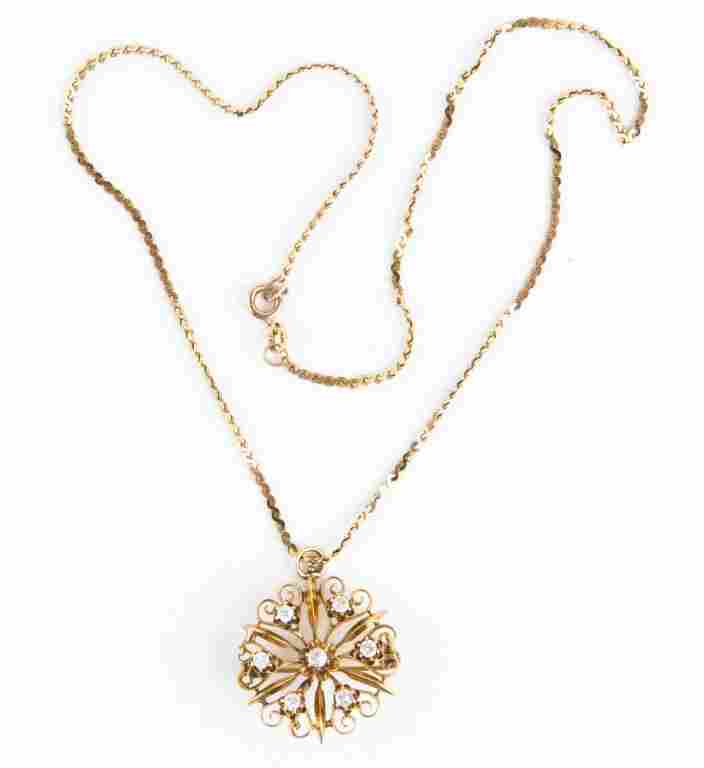 LADIES 14K YELLOW GOLD DIAMOND BROOCH PENDANT