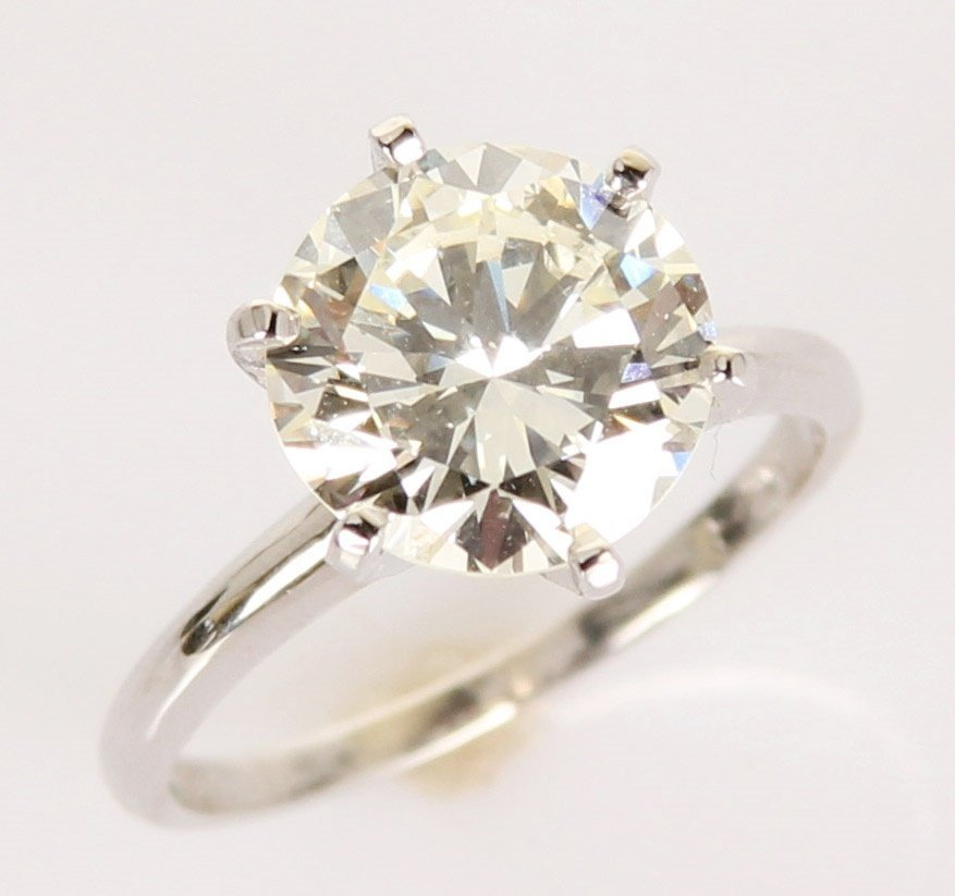 LADIES 14K WHITE GOLD 3.3CT DIAMOND SOLITAIRE