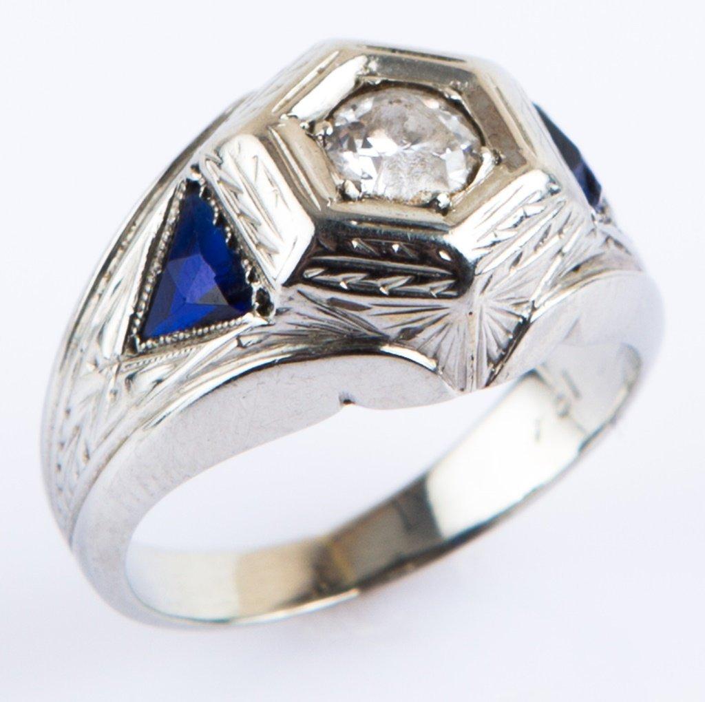 LADIES 18K WHITE GOLD ART DECO DIAMOND RING