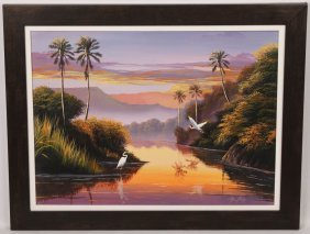 Juan Mape Sunset Wetland Oil On Canvas