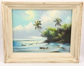 Tracy Newton Oil On Board Beach With Canoe