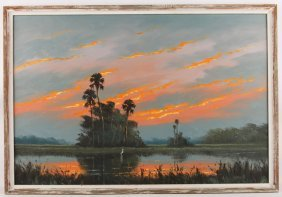 Harold Newton Florida Highwaymen Fire Sky Painting
