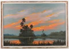 HAROLD NEWTON FLORIDA HIGHWAYMEN FIRE SKY PAINTING
