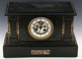 19th Century Colonial Black Slate Mantle Clock
