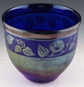 Zellique Studios Blue Art Glass Vase Signed