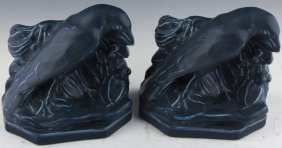Pair Rookwood Pottery Rook Bookends 1919