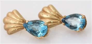 LADIES 14K YELLOW GOLD BLUE TOPAZ SHELL EARRINGS