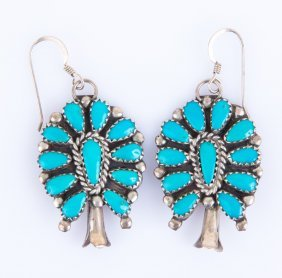 Sterling & Turquoise Squash Blossom Earrings