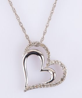 Sterling Silver Cz Double Heart Pendant Necklace