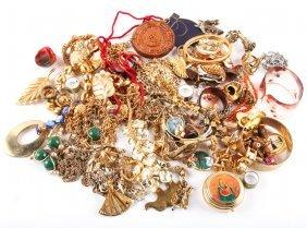 Large Mixed Lot Of Gold Tone Costume Jewlery
