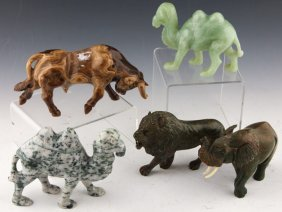 5 Animal Carvings | Verdite, Tigers Eye, Jade