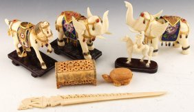 7 Asian Carved Bone Figurines & Box