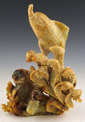 Chinese Jade Carving Porpoise With Fish Statue
