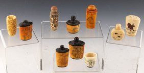 10 Chinese Bone Snuff Bottles