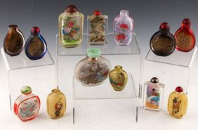 13 Chinese Reverse Painted Snuff Bottles