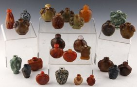 26 Chinese Carved Stone Snuff Bottles