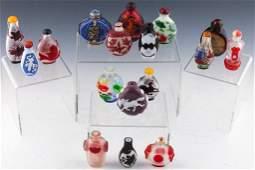 17 CHINESE SNUFF BOTTLES  PEKING GLASS PEWTER