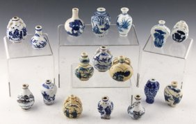 17 Chinese Porcelain Blue & White Snuff Bottles