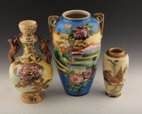 3 Pieces Of Satsuma Pottery