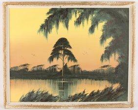 James Gibson Early '60s Marsh Sunset Scene