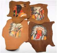 4 NATIVE AMERICAN PORTRAIT PAINTING ON LEATHER