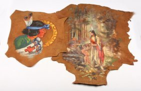 2 Native American Landscape Paintings On Leather