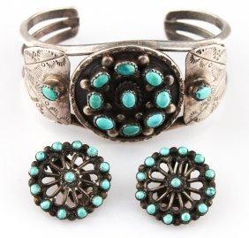 Zuni Sterling & Turquoise Bracelet & Earrings Set