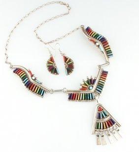 Zuni Multi-stone Sterling Necklace & Earrings Set
