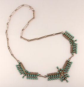 Zuni Sterling And Turquoise Necklace