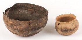2 Pre-columbian Caddo Pottery Jar & Bowl