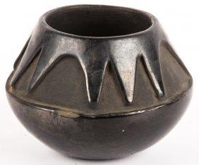 20th C. Carved Blackware Santa Clara Jar