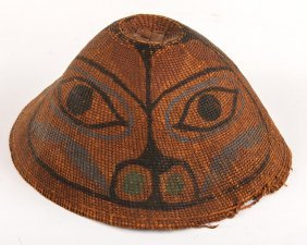 20th C. Haida Painted Basketry Hat