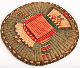 Mid 20th C Hopi Wicker Brasketry Figural Tray
