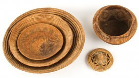 5 Native American Coil Baskets Bowl & Lid
