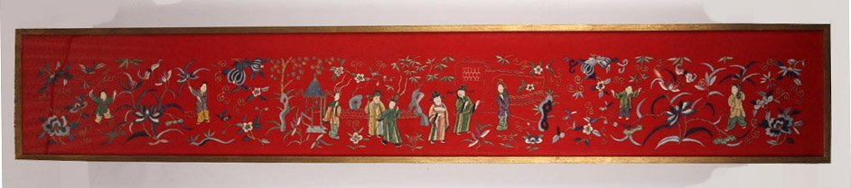 LARGE FRAMED CHINESE SILK EMBROIDERY TO FELT