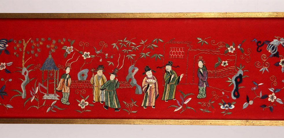 LARGE FRAMED CHINESE SILK EMBROIDERY TO FELT - 3