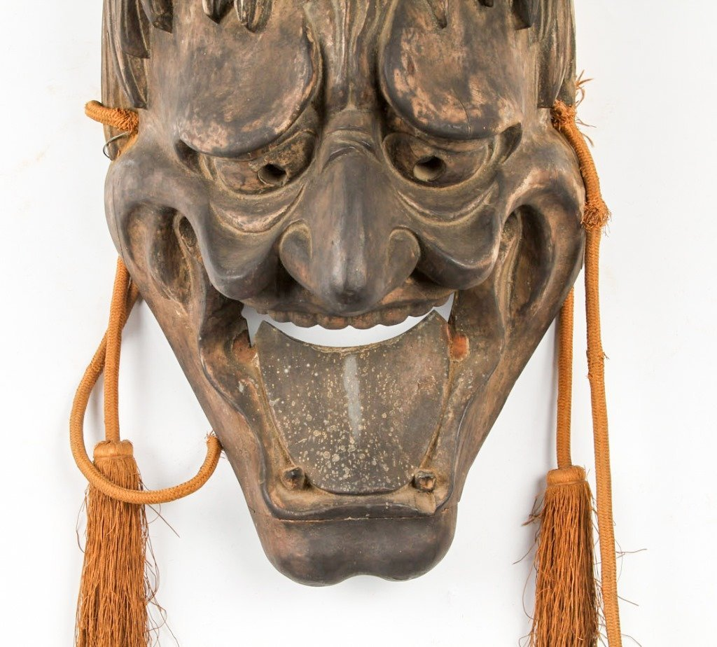 EARLY 20TH C JAPANESE NOH MASK OF HANNYA - 2