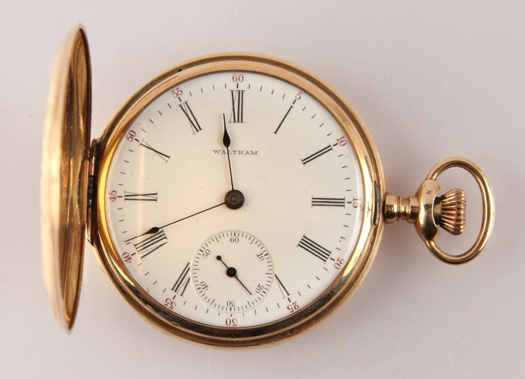 MENS WALTHAM 14K GOLD POCKET WATCH HUNTER KEYSTONE