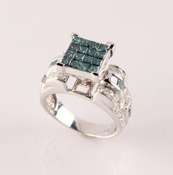LADIES 14K WHITE GOLD BLUE DIAMOND FASHION RING