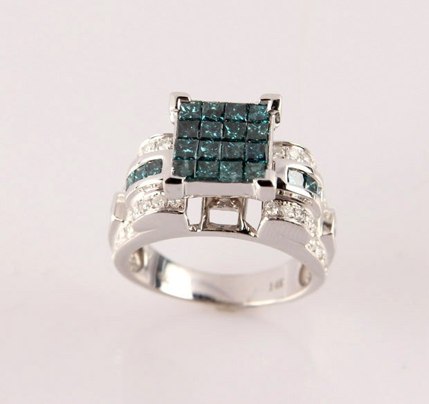 LADIES 14K WHITE GOLD BLUE DIAMOND FASHION RING - 2