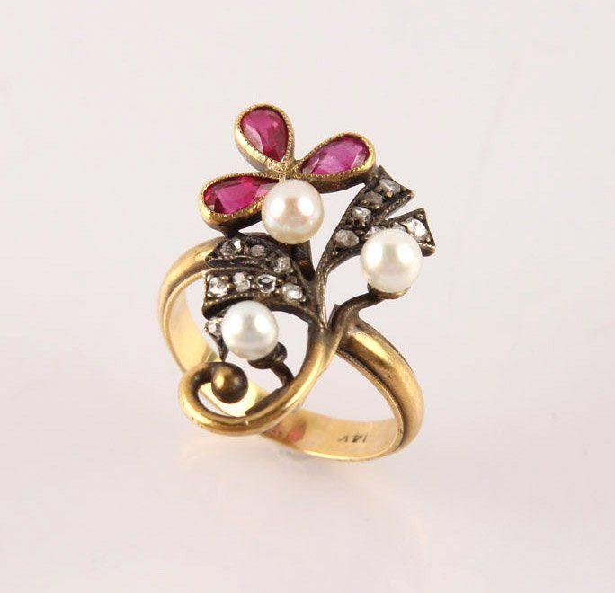 LADIES YELLOW GOLD DIAMOND RUBY PEARL ESTATE RING