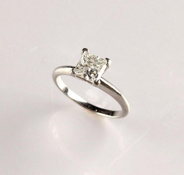 LADIES PLATINUM 1.03CT DIAMOND ENGAGEMENT RING GIA