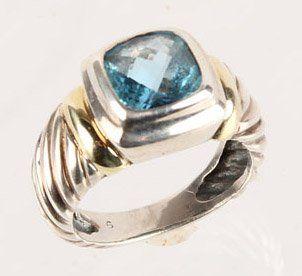 STERLING 14K GOLD DAVID YURMAN BLUE TOPAZ RING