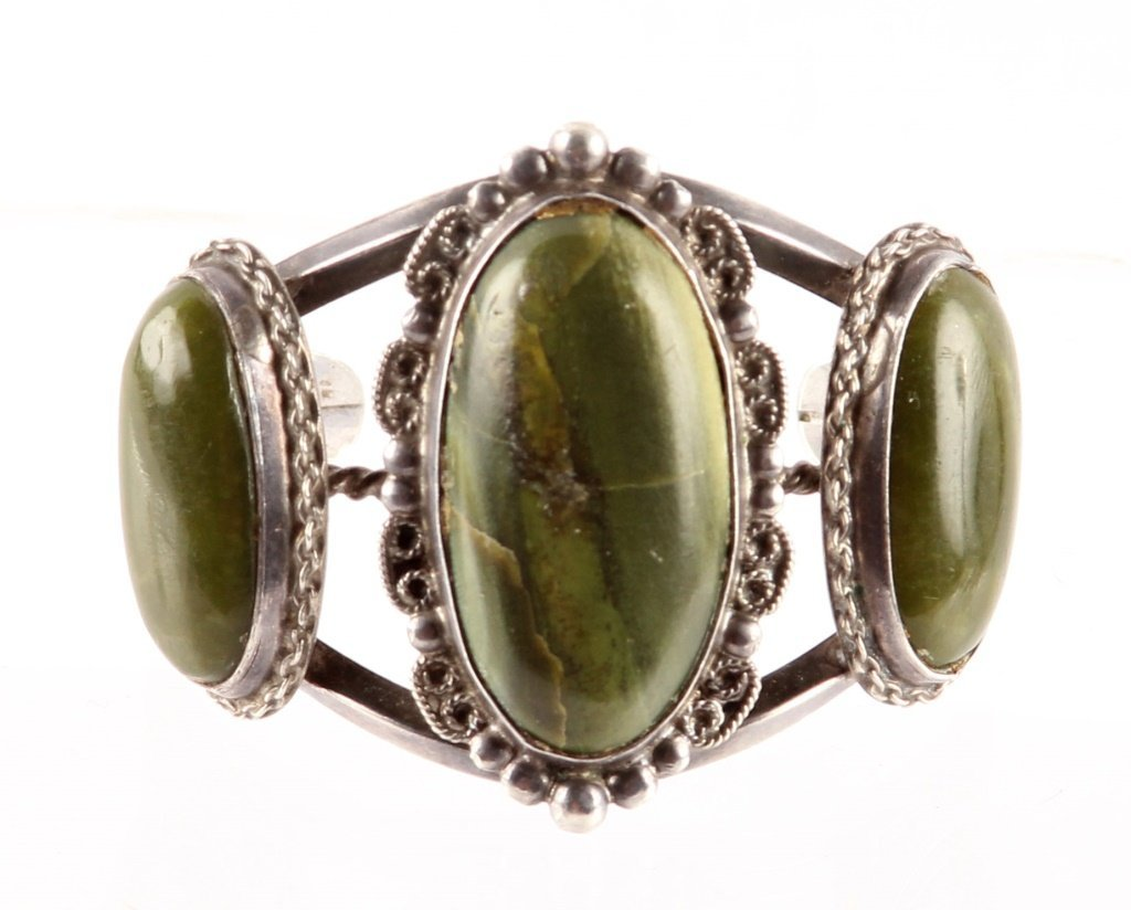 HARVEY BEGAY RIVER JADE STERLING CUFF BRACELET
