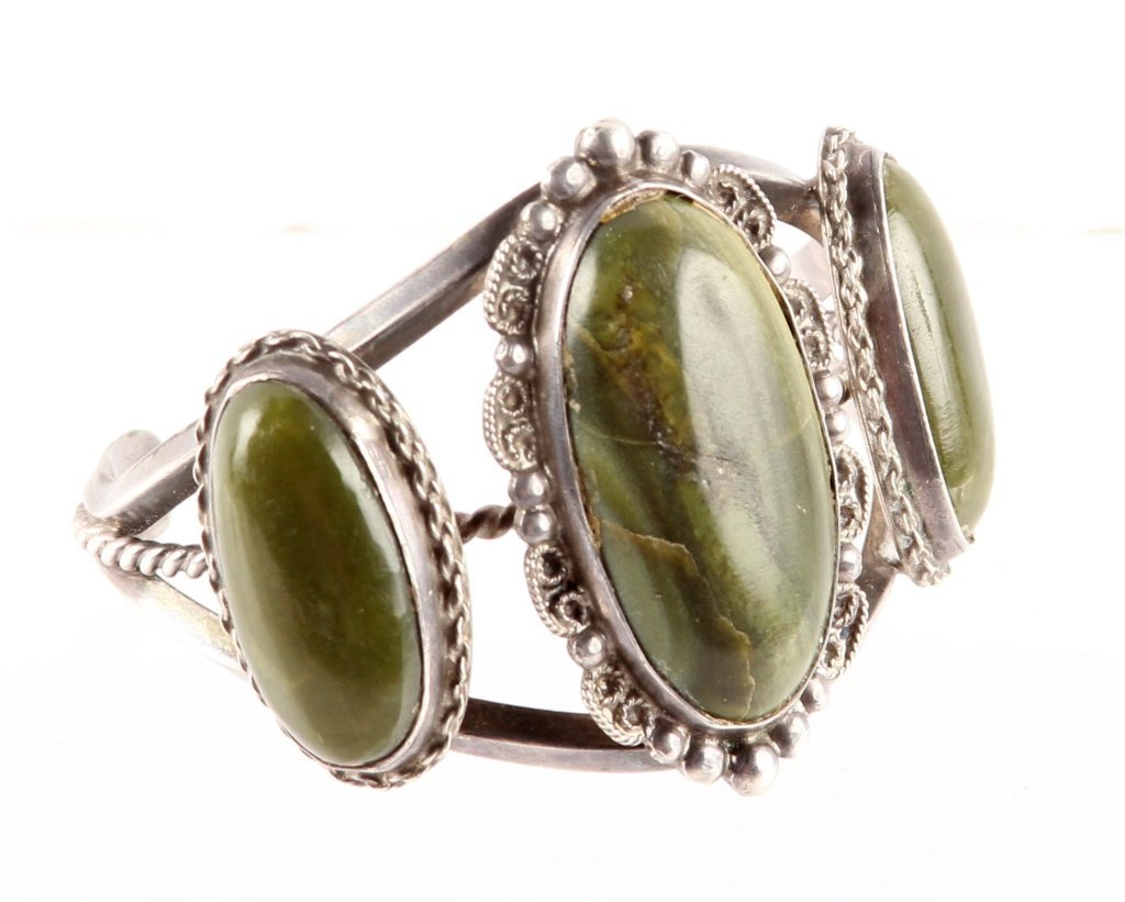 HARVEY BEGAY RIVER JADE STERLING CUFF BRACELET - 2