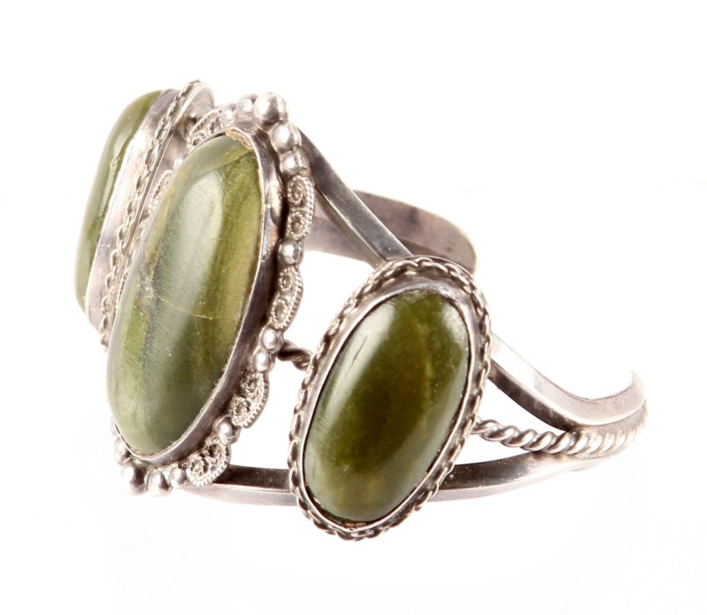 HARVEY BEGAY RIVER JADE STERLING CUFF BRACELET - 3