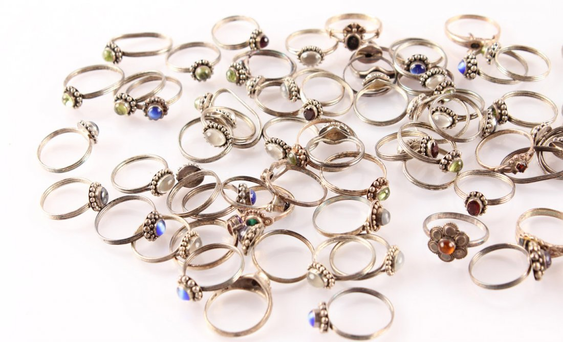LADIES STERLING SILVER SEMI PRECIOUS RINGS - 6