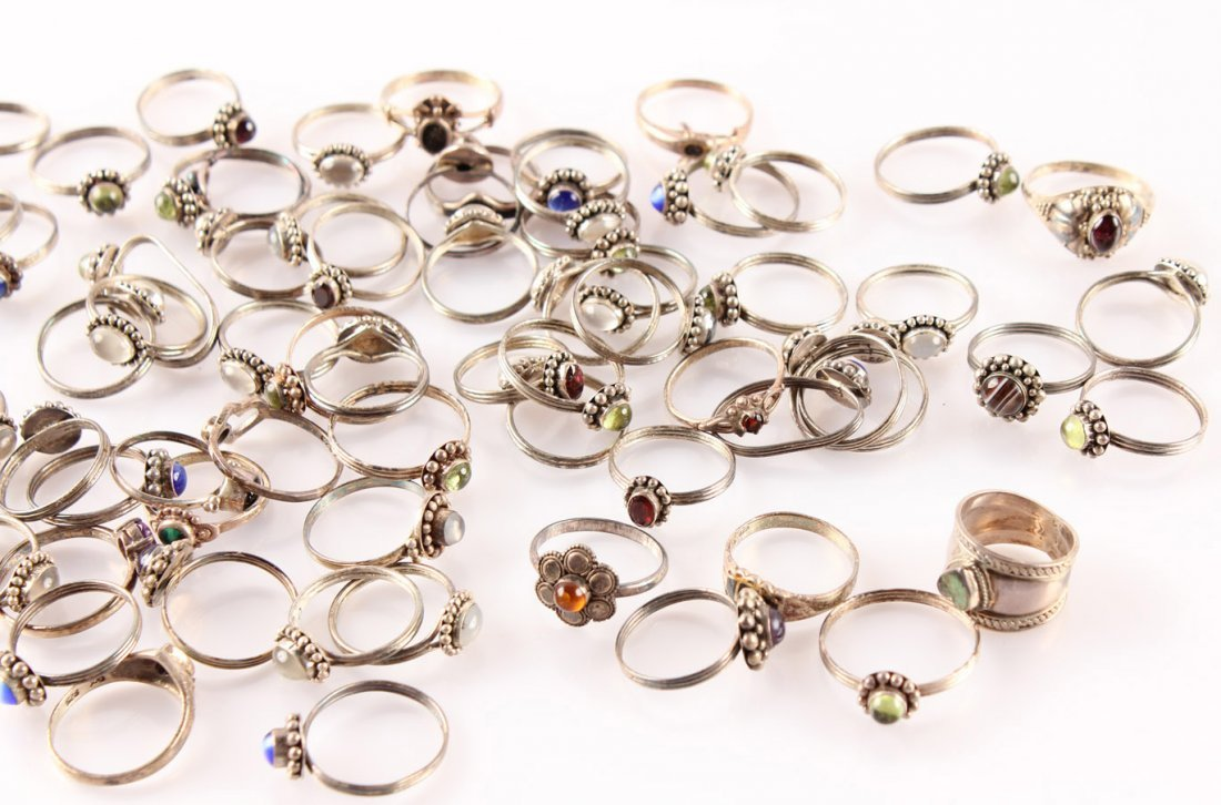 LADIES STERLING SILVER SEMI PRECIOUS RINGS - 8