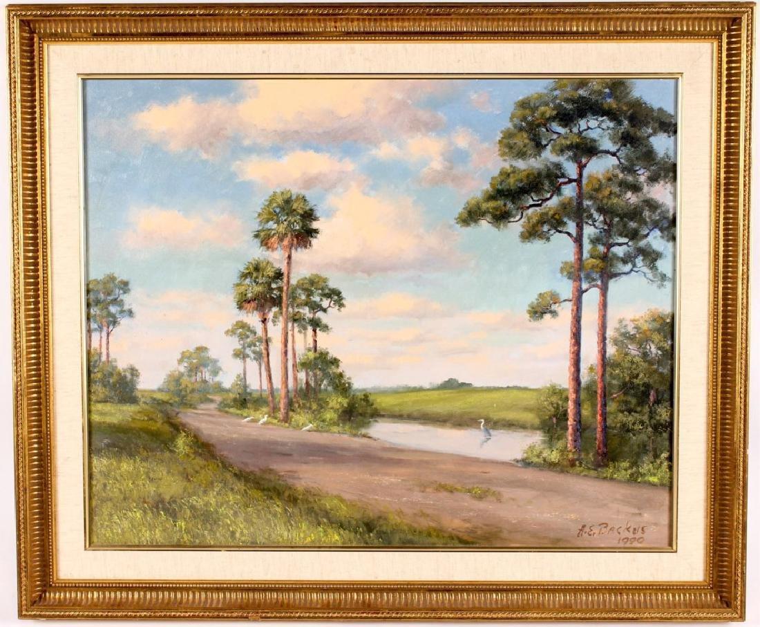ALBERT BACKUS FLORIDA  ARTIST RIVER ROAD OIL