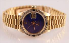 LADIES ROLEX PRESIDENT 18K YG DIAMOND WRISTWATCH